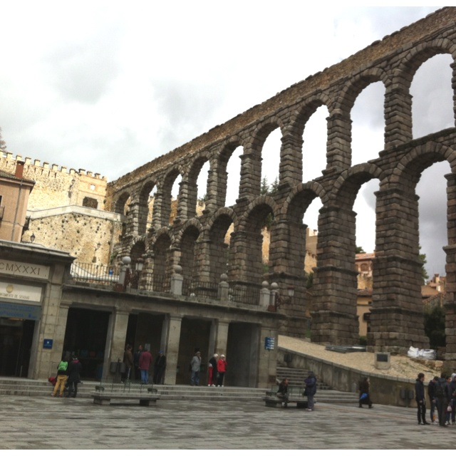 Aqueduct in Segovia, Spain, April 2012.