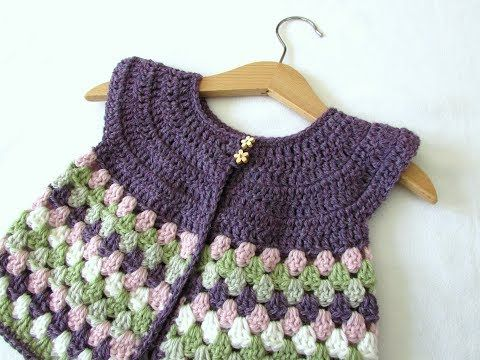 How to crochet a baby / girl's granny stripe cardigan - YouTube