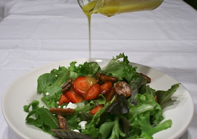 , Pecan, Goat Cheese Mixed Greens with a White Balsamic Honey ...