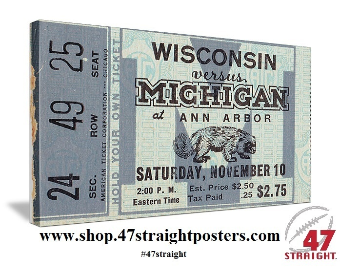 Best Father's Day Gifts for football fans! Available soon. 1934 Michigan football ticket art on canvas. Great vintage Michigan football art for a game room! #47straight Father's Day Gifts for college football fans. Best Father's Day Gifts 2013! College football gifts. College football art. Michigan football art.
