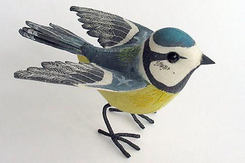 hand painted embroidered birds: Birds Brain, Birds Art, Songbird Sculpture, Art Toys, Art 3D, Birds Sculpture, Blue Birds, Emily Sutton, Crochet Bluetit