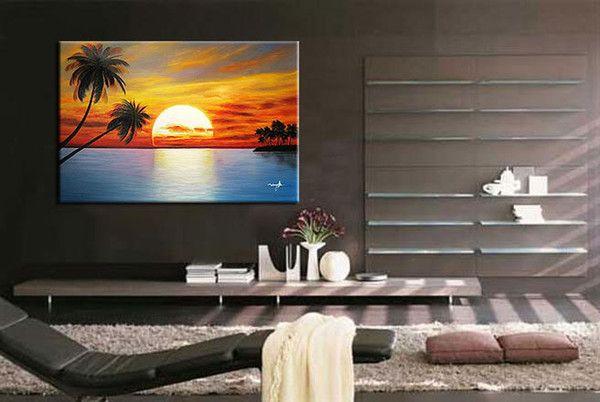 venta al por mayor decorativos pintados a mano del sol naciente palma paisaje óleos sobre lienzo 20x24inch