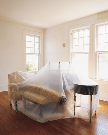 remove small objects from the room gather large ones in the center and cover with a plastic drop cloth unscrew switch and outlet face plates