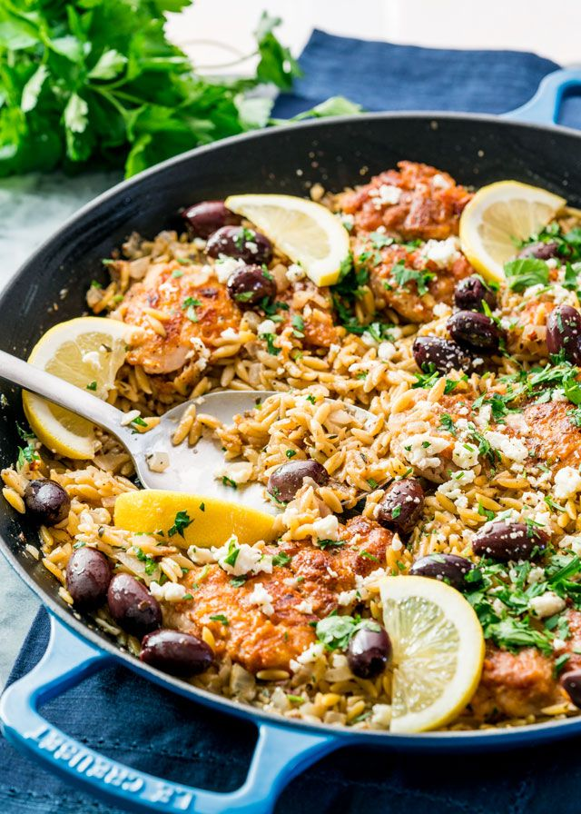 This One Pot Greek Chicken Orzo is a fabulous midweek meal. It's quick, delicious and loaded with Greek flavors. Less stress, more flavor!