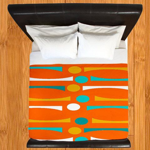 Orange Duvet Cover Modern Duvet Cover Geometric by crashpaddesigns
