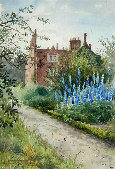 A Norfolk country house with blue delphiniums in the garden, Henry John Sylvester Stannard