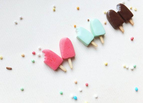 Ice Cream Earrings / Popsicle earrings / summer earrings / Polymer clay / Pink, Vanilla, Chocolate, Mint / Miniature food / silver posts 925