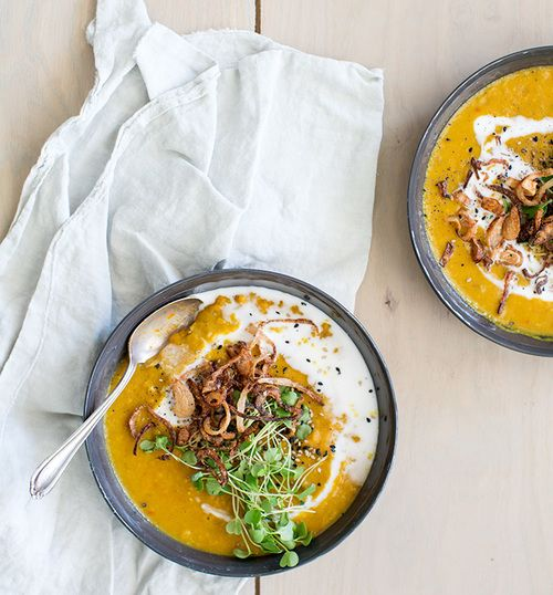 spiced yellow split pea soup + crispy shallots