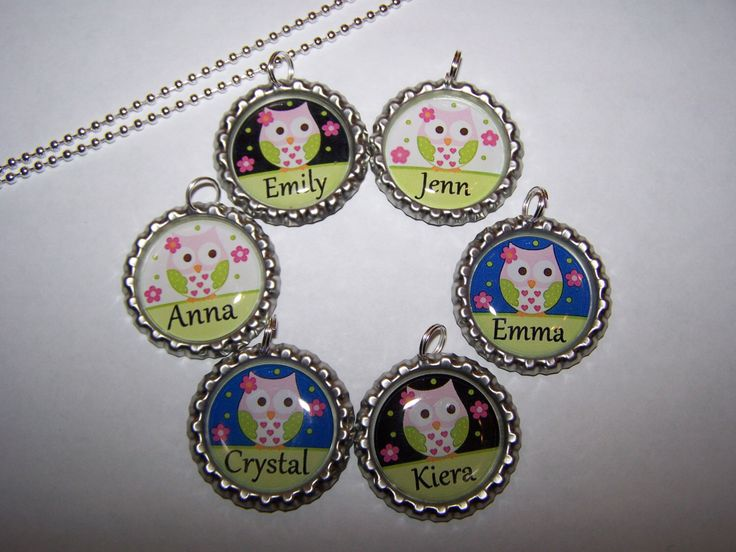 Owl Party Favors / Personalized Flower Owl Bottle Cap Necklaces / Girls Party Favors by PARTYCAPZNBOWS on Etsy https://www.etsy.com/listing/170785229/owl-party-favors-personalized-flower-owl