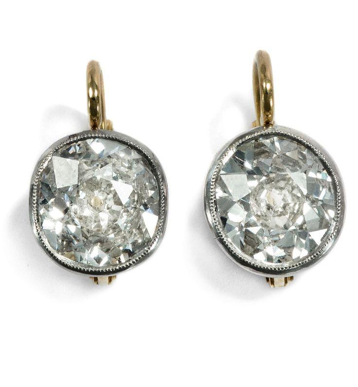 Hamburg um 1920: Antike Solitär Ohrringe, 3,0 ct Diamanten in Platin, Diamant