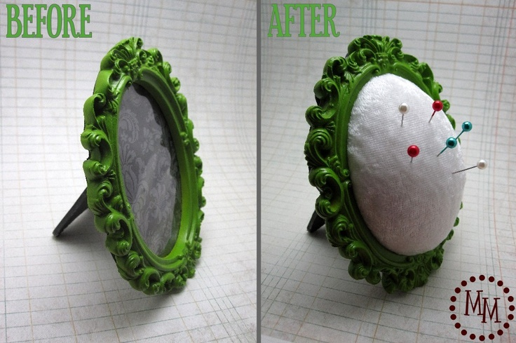 Pin cushion made from decorative photo frame