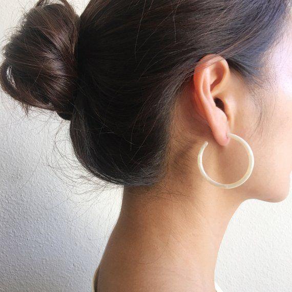 Statement Earrings Resin Hoop Earrings Acetate Hoop Earrings Tortoise Shell Earrings Long Oval Ocean Blue Tortoise Shell Hoop Earrings