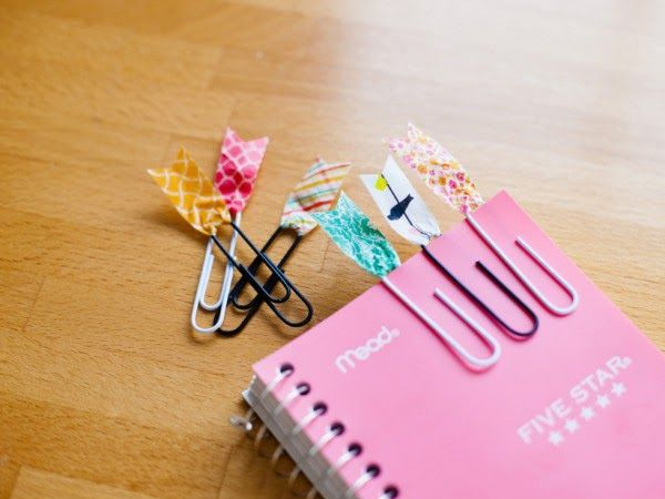 DIY Back to School Washi Tape Paper Clip Bookmark by Coleen [http://sheheartsit.com]