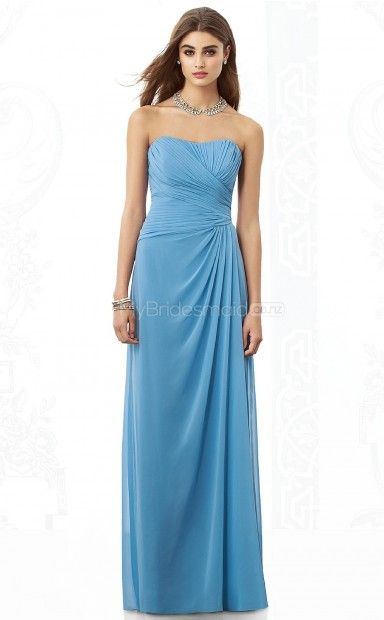 Sky Blue Chiffon Sheath Sweetheart Floor-length Bridesmaid Dresses(NZBD06851)
