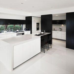 white high gloss floor tile... kitchen