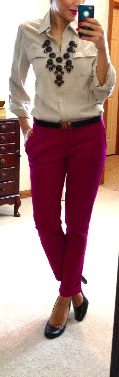 Blouse via TJMAXX (in cream), Target Mossimo Ankle Stretch Pant (in pink), belt via Francesca's, Jessica Simpson pumps, bubble necklace via eBay