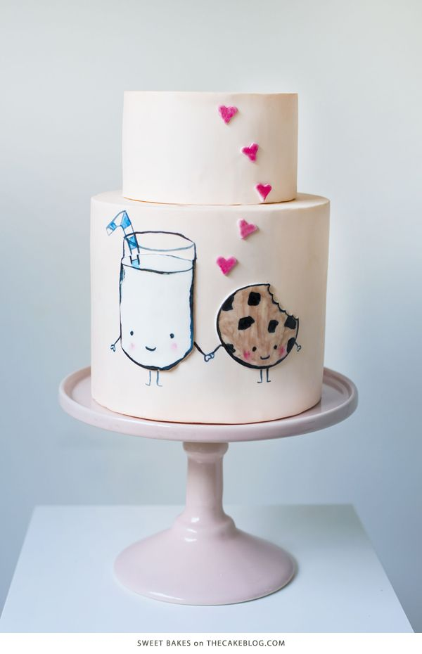 10 Love Inspired Cakes | including this milk and cookie design by Sweet Bakes | on TheCakeBlog.com