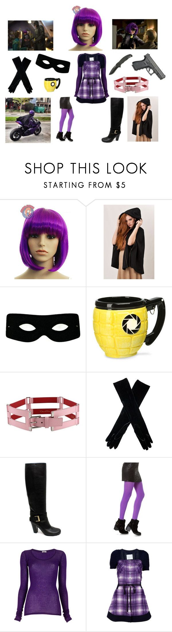 """""""Hit Girl Costume Ideas"""" by ashleah ❤ liked on Polyvore featuring Chloé, Masquerade, Oscar de la Renta, Alexon, S'well, American Vintage, Sacai and POLICE"""