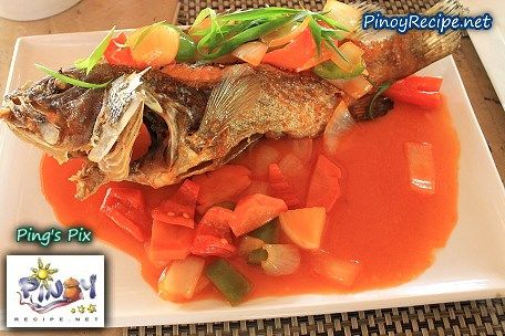 Basically Lapu-lapu Escabeche Recipe is made by deep frying a whole fish of Lapu-lapu or Red grouper fish or any kind of meaty fish, and topping with sweet and sour sauce with vegetables.    Read more: http://www.pinoyrecipe.net/lapu-lapu-escabeche-recipe/