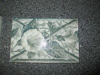 Fliese,original aus dem Jugendstil,Frankreich, grün 10 x 15cm, Ackerwinde