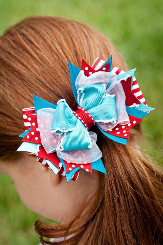 Hair Bow, Dr Seuss Boutique Hair Bow, Dr. Seuss Bow, Cat in the Hat Bow, Girl Boutique Bow, OTT Hair Bow, Red and Blue Hair Bow
