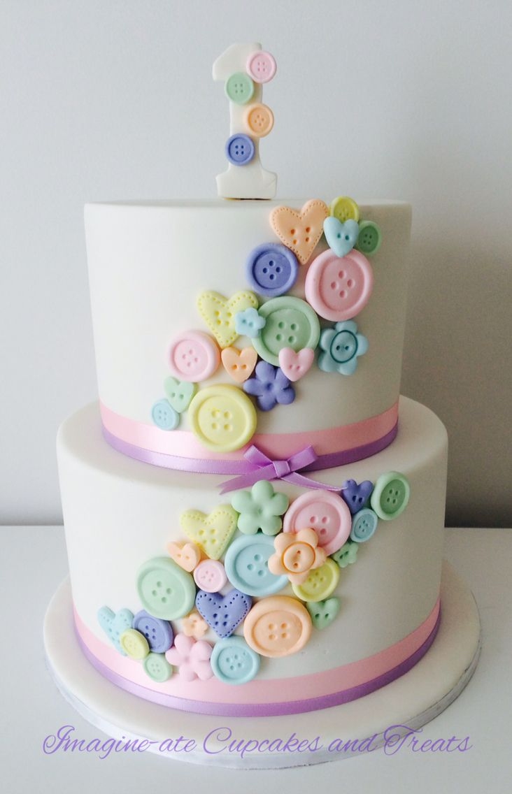 Cute as a button themed first birthday cake