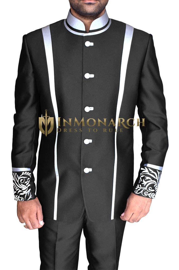Designer Work Black Nehru Jacket