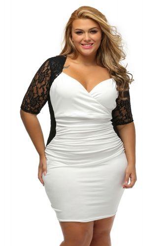 2d91c13c541 US  6.79-Black White Ruched Lace Illusion Plus Dress Dropshipping