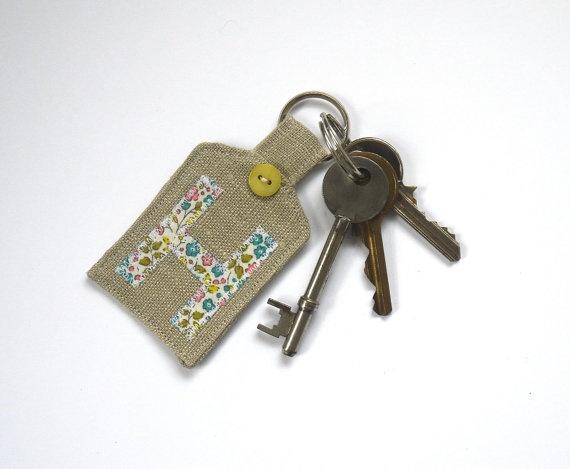 Handmade Personalised Key Fob by HomebirdTextiles on Etsy, £6.00