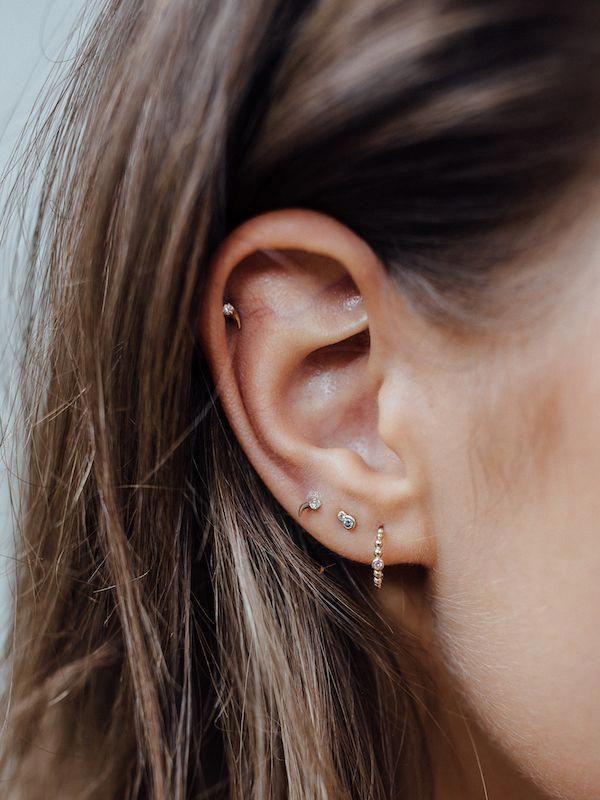 Under Lobe Gold Diamond Cuff Pack Set of Three Earrings