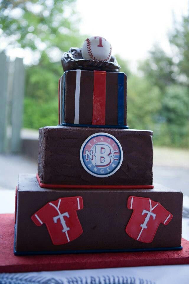 Our Texas Ranger baseball inspired grooms cake :) by Creme de la Creme in Ft. Worth,Tx