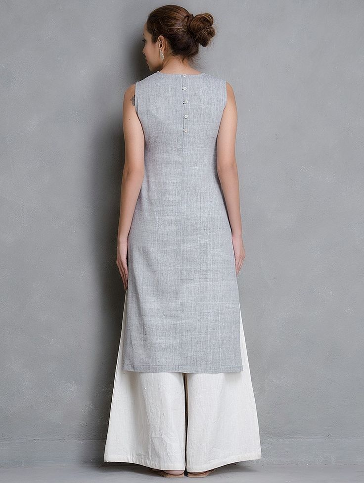 Buy Grey Sleeveless Khadi Cotton Kurta with Pocket (Back) Online at Jaypore.com