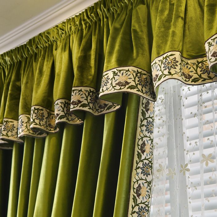New arrival Twynam Blue and Green Pencil Pleated Valance and Sheers Custom Made Chenille Velvet Curtains