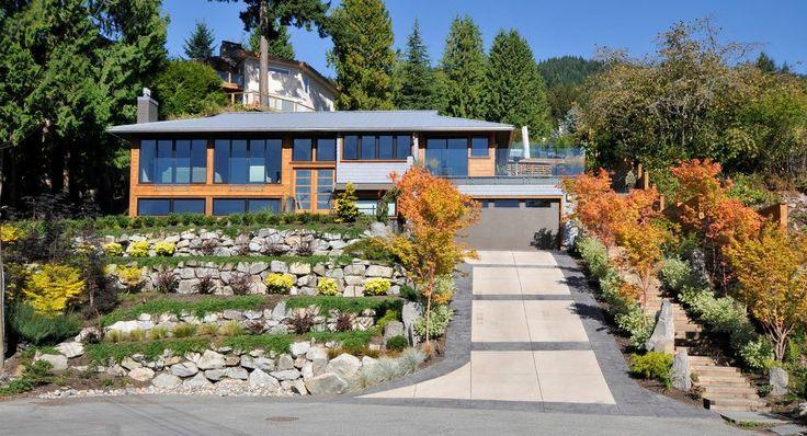 driveway landscape border exterior contemporary with cedar modern coatracks and umbrella stands
