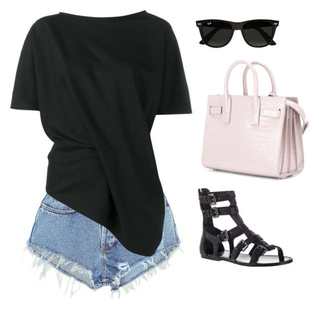 """""""Untitled #2899"""" by n2288851 on Polyvore featuring Levi's, Ann Demeulemeester, belle by Sigerson Morrison, Yves Saint Laurent and Ray-Ban"""