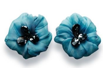 Beautiful flowers made of silken chiffon hemmed by hand embracing three glistening blue Swarovski crystals.  http://mysfashion.com