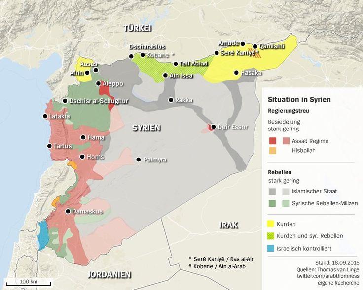 Karte von Syrien: Wer herrscht wo? Situation in dem Bürgerkriegsland