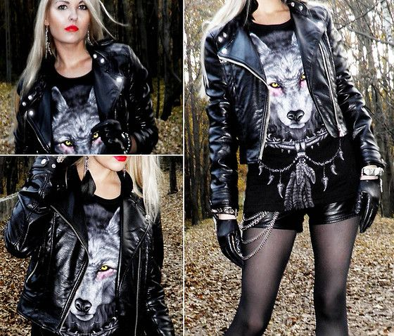 Black Leather Fashion Glam Rock Girl Leather Jacket
