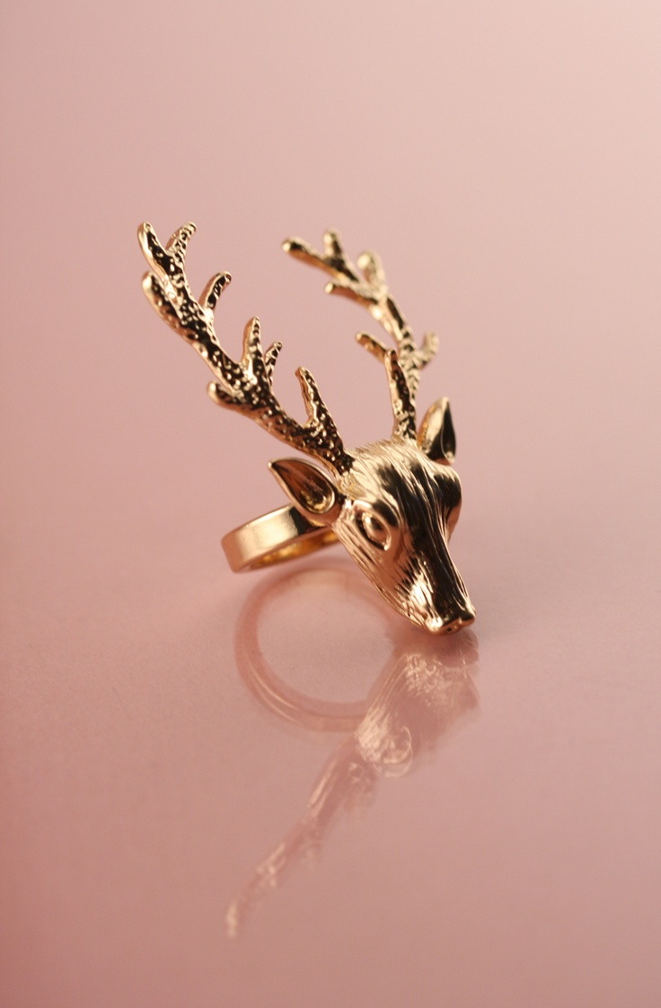 10K GOLD ANTIQUE DEER RING at Wildfox Couture in - GOLD ... Reindeer 10k Stourhead