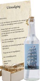 Start Sail 2015 goed met een unieke uitnodiging van flessenpost.....Stel deze flessenpost zelf samen...in de door u gewenste specifieke uitstraling.    Kijk op http://www.flessenpost.nl/SAIL-2015-Sail-Away-p-16778.html