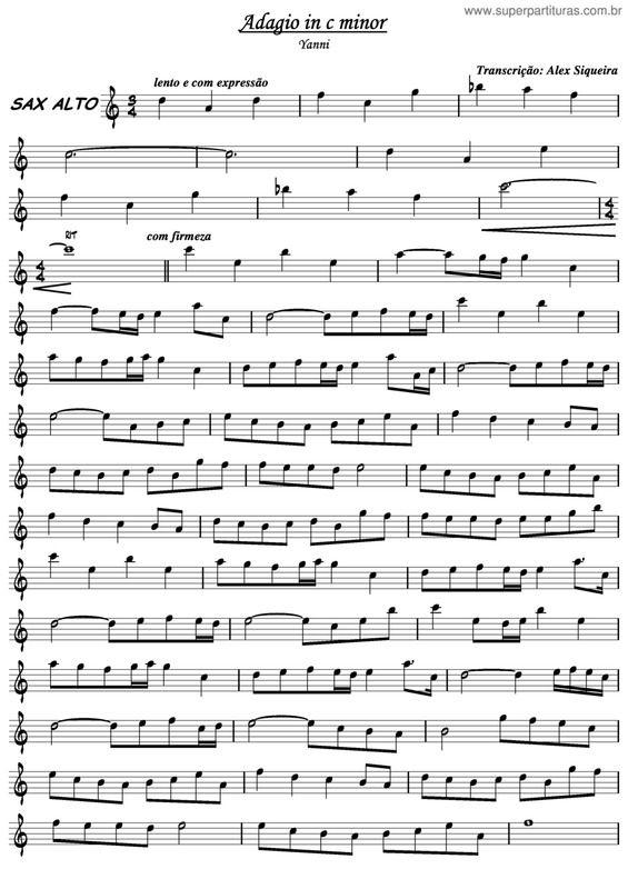 Super Partituras Adagio In C Minor Yanni Sem Cifra Cifras