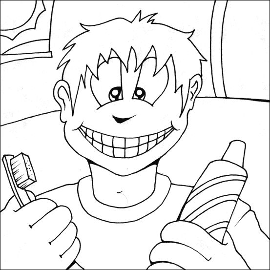 boy brushing teeth coloring pages - photo#21