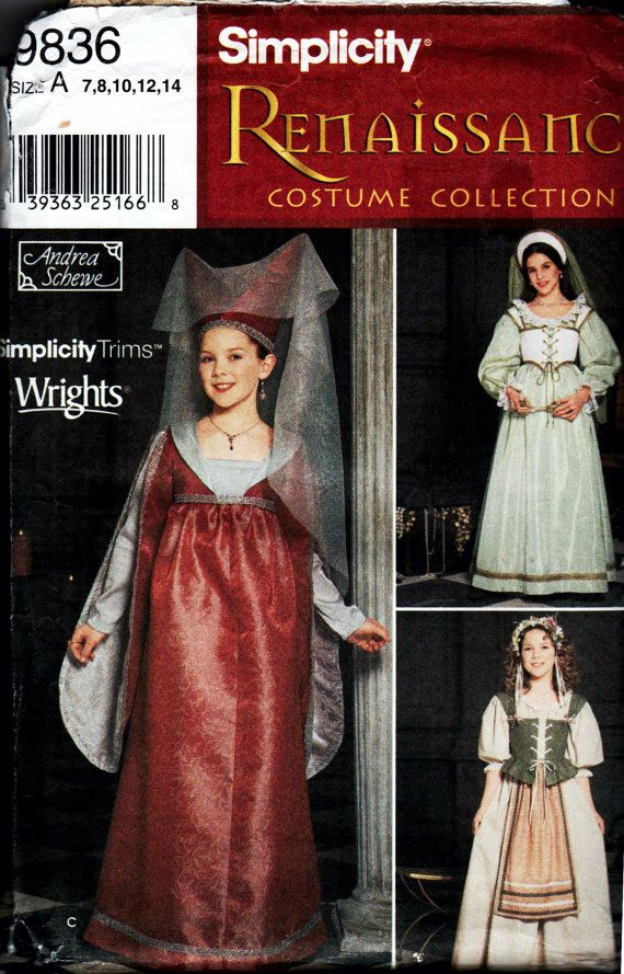This listing is for Girls Renaissance Costume Pattern, Simplicity 9836 designed by Andrea Schewe. Included are patterns for three dresses, a vest, an apron, a petticoat, and two hats and headbands in sizes 7, 8, 10, 12 and 14, all of which are suitable for Halloween, SCA or Renaissance Faires .  This pattern is in very good condition. All pieces are present. A few have been cut to size 14. Watch for more sewing items including books, patterns, pattern company handouts, Cooperative Extension…