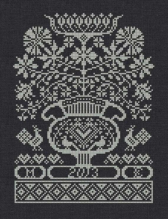 Folk Flowers Instant Download PDF crossstitch by modernfolk