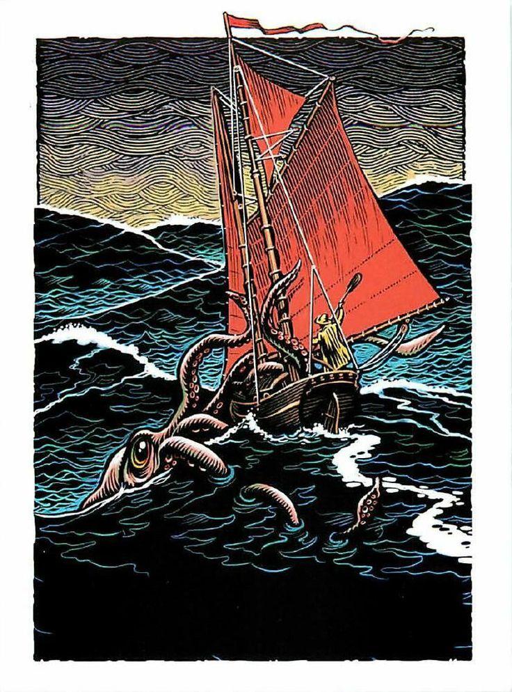Giant Squid Kraken Sea Monster Attacks Ship Postcard By