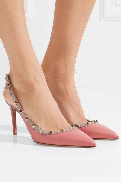 1b69b0b82dfd Valentino - The Rockstud Leather Slingback Pumps - Pink