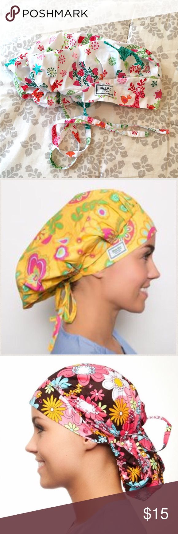 Blue Sky Scrubs Poppy Surgical Scrub Cap 😷 Blue Sky Scrubs Poppy Surgical Scrub Cap 😷, Christmas🎄Print! White background with Pinks, Greens, and Reds featuring Deer, Birds, and Snowflakes. Can be worn as full bouffant or pulled back with attached ties. Two hats in one!  Excellent condition. *Model pictures are for cap style reference only.* Blue Sky Scrubs Other