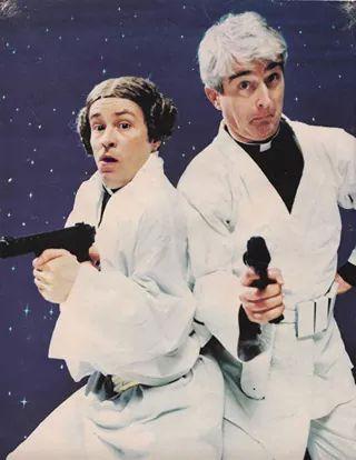 Dougal (Ardal O'Hanlon) & Father Ted (Dermot Morgan) as Leia & Luke