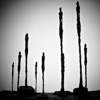 "Giacometti. According to Sartre ""the absolute depiction of loneliness and self-sufficiency"""