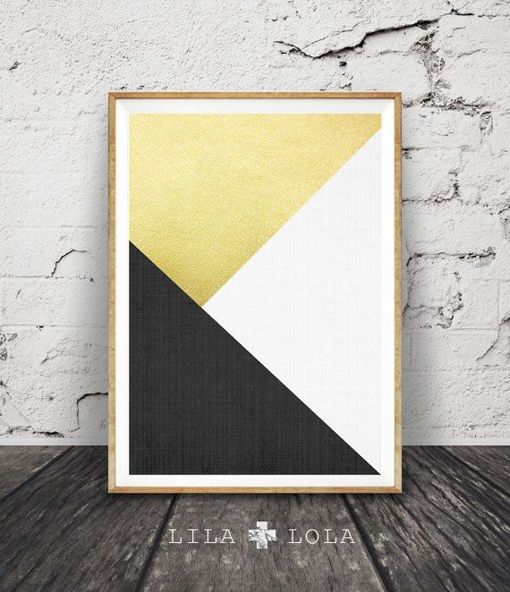 Black White and Gold Print, Abstract Art, Geometric Decor, Modern Minimalist Wall Art, Triangle, Printable Instant Digital Download, Large